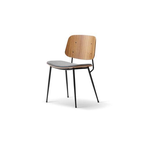 Søborg Chair, upholstered seat, steel-frame version, Fredericia. Børge Mogensen.