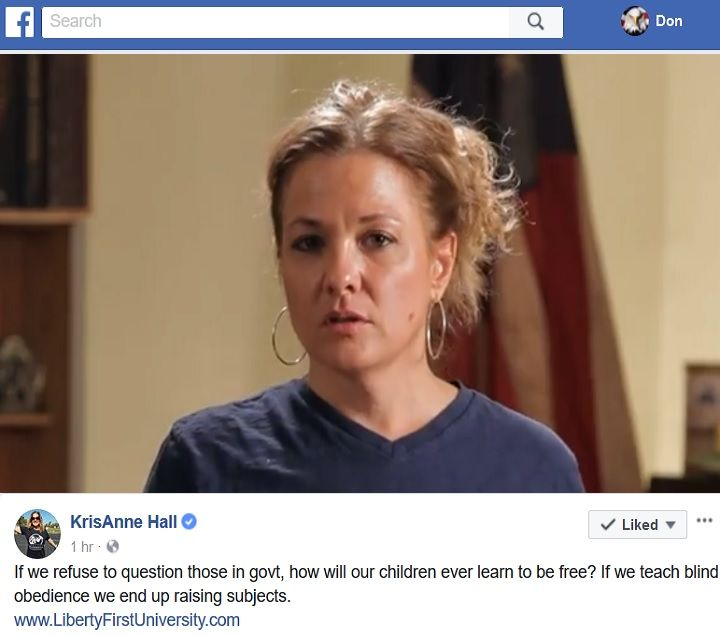 Kris Anne Hall on Corruption in the Federal Judiciary https://www.facebook.com/krisanne.hall/videos/1647016448682698/ #GG #Boomers #GenX #Millennials #Teen #College #HighSchool #HomeSchool #TEAParty @CRNC #FFA @GOP @Anonymous #Military #Militia @OathKeepers @TPPatriots @realDonaldTrump @VP @JudicialWatch @YRNF #PJNET Judge Bench Accountability Transparency Don Mashak Cynical Patriot