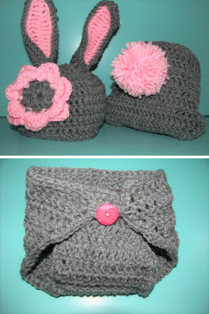 [Free Pattern] Crochet Baby Bunny Hat And Diaper Cover