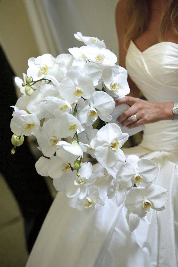 How gorgeous is this white orchid bouquet?! #DonnaMorganEngaged