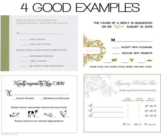 DOs  DONTs Place Cards  Meal Choices Menu Wedding rsvp
