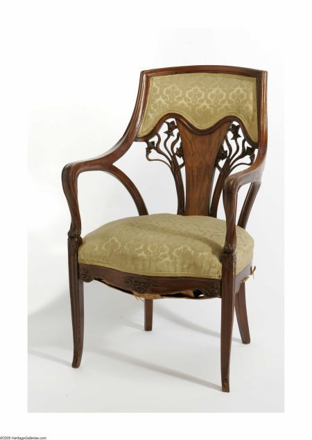 The woodwork is exquisite!  An Upholstered Marquetry Art Nouveau Armchair   Emile Galle, attributed to. c. 1900