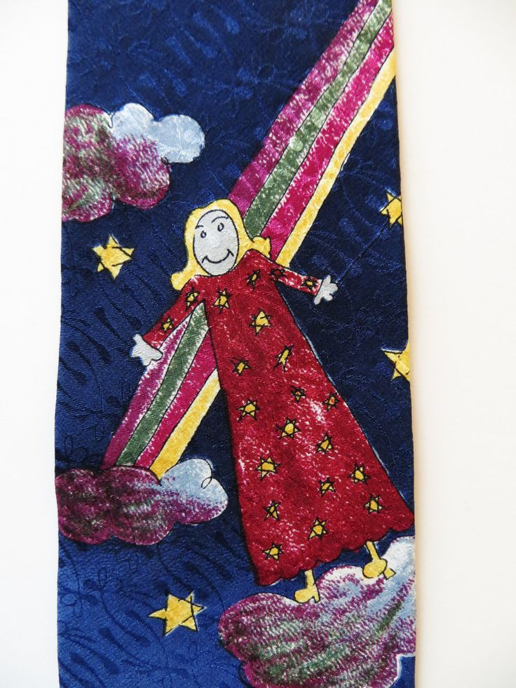 Silk Necktie, Make a Wish Foundation, Wishes Do Come True, Child's Drawing, Canada, Girl Stars Rainbow,  mint unused by TomCatBazaar on Etsy