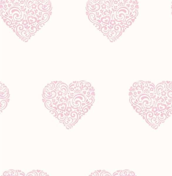 Carousel, Tapet, Blomsterhjerte, Hvid/lyserød