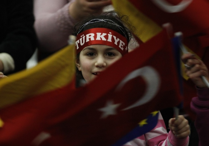 A girl waving Turkish and German flag: German Flags, Red Flags, Turkey Flags