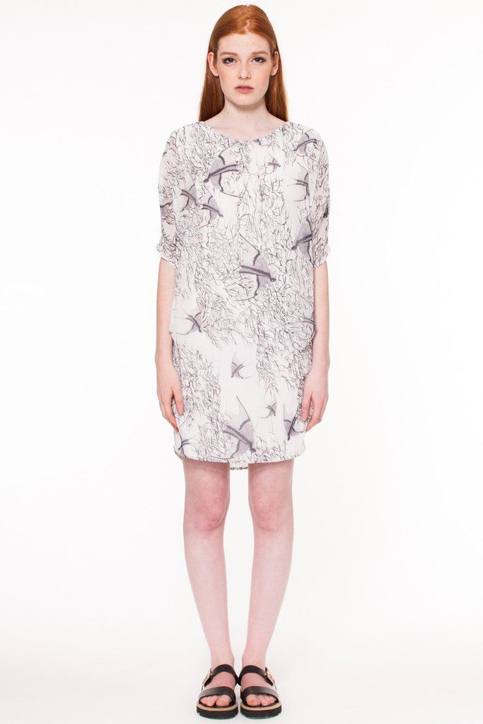 Ellwood Dress by Canadian fashion designer Valerie Dumaine. Bird printed chiffon dress.  A portion of profits from the  Compassion & Design collection goes to Animal Welfare programs. Responsible fashion from Montreal, Canada.