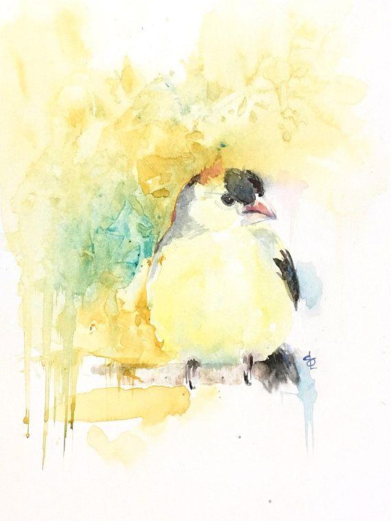 Peinture A L Aquarelle Chardonneret Oiseau Jaune Peinture A L