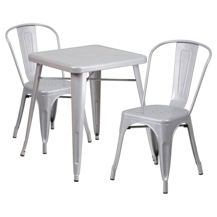 Flash Furniture Mason 3 Piece Modern Dining Table Set - CH-31330-2-30-BK-GG