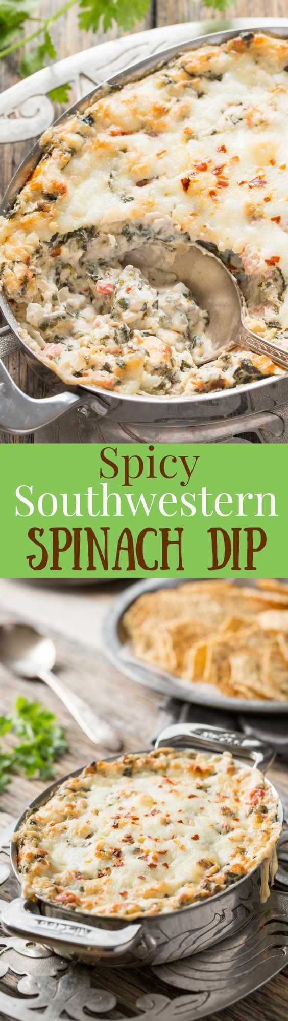 Spicy Southwestern Spinach Dip - a spicy warm spinach dip packed with flavor. Serve with bread, chips or crackers. Easily mixed up ahead of time then baked when ready to serve.  www.savingdessert.com
