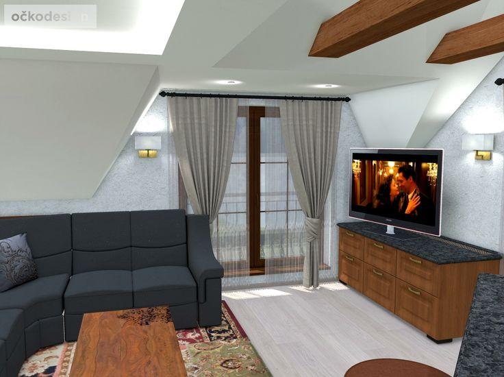 Rekonstrukce podkroví. Interiér v rustikálním stylu. | očkodesign