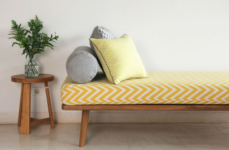 Obi Day Bed with Yellow Chevron Cover.  Obi Day Bed includes the mattress & 1 piece bolster. The frame material is made from solid teak wood finishing Ashes teakblock recycled mix. the size is 200cm x 80cm x height 47cm