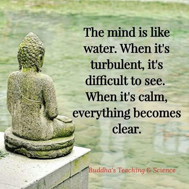 La mente es como el agua. Cuando es turbulento, es difícil de ver. Cuando está en calma todo se vuelve claro Enseñanza y Ciencias de Buda