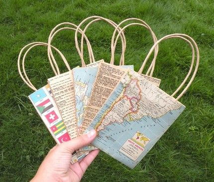 Reuse old maps for cute gift bags. (projects, crafts, DIY, do it yourself, fun, creative, uses, use, ideas, inspiration, 3R's, reduce, reuse, recycle, used, upcycle, repurpose, handmade, homemade)