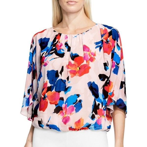 Vince Camuto Petite Rendezvous Floral Print Blouse ($36) ❤ liked on Polyvore featuring tops, blouses, rose buff, floral print tops, pink pullover, rose pink top, pink top and sweater pullover