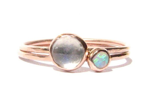 Set of Stacking rings  Opal Rainbow Moonstone & Solid by Ringsland