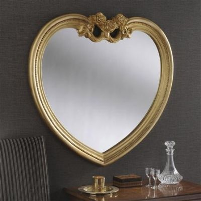 Gold heart shaped mirror with decorative crest - Shop online > http://www.exclusivemirrors.co.uk/gold-mirrors/gold-heart-shaped-mirror-with-crest-97-x-91cm?cPath=38&