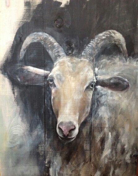 Goat on wood schilderij van bok op steigerhout acrylverf 60/80 cm