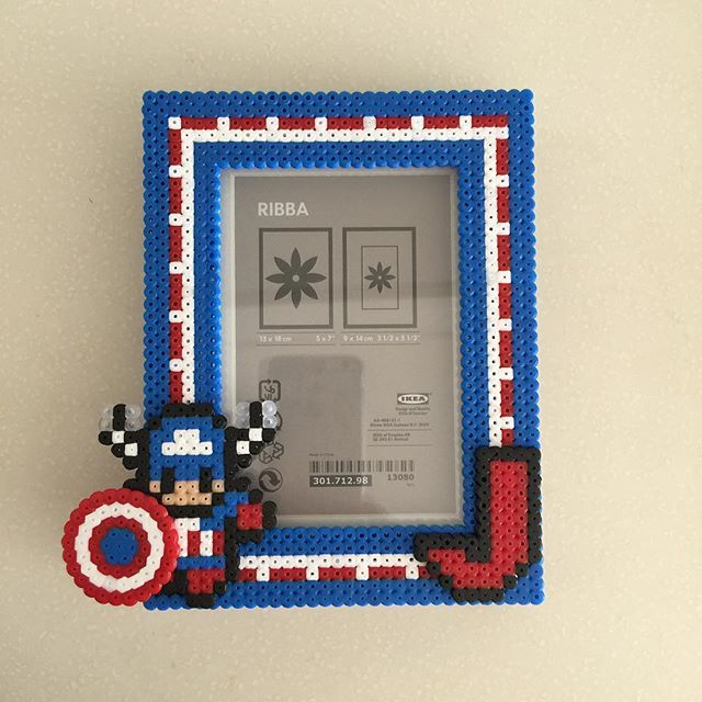 Captain America photo frame hama perler beads by ikasuyanto