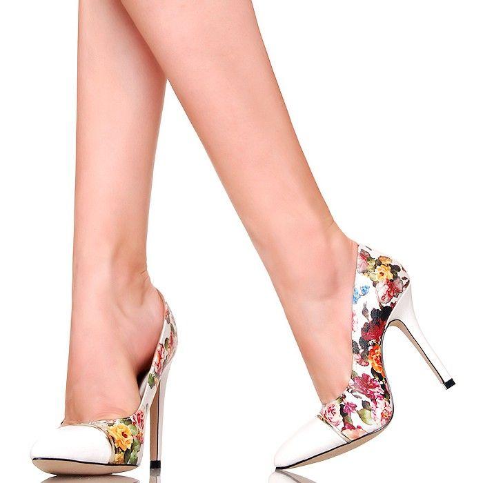 Czółenka - Kwiatowe Szpice Biały Nosek - www.BUU.pl #heels #shoes