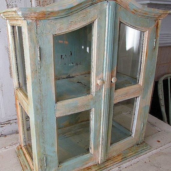 Check out Large display cabinet distressed French blue and white wood and glass showcase very heavy well made antique home decor anita spero design on anitasperodesign