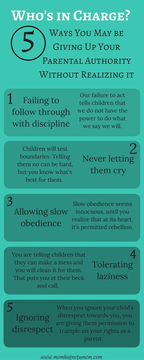 Who's in Charge? 5 way you may be compromising your own authority as a parent. Infographic linked to full post.   Mom but not a Mom