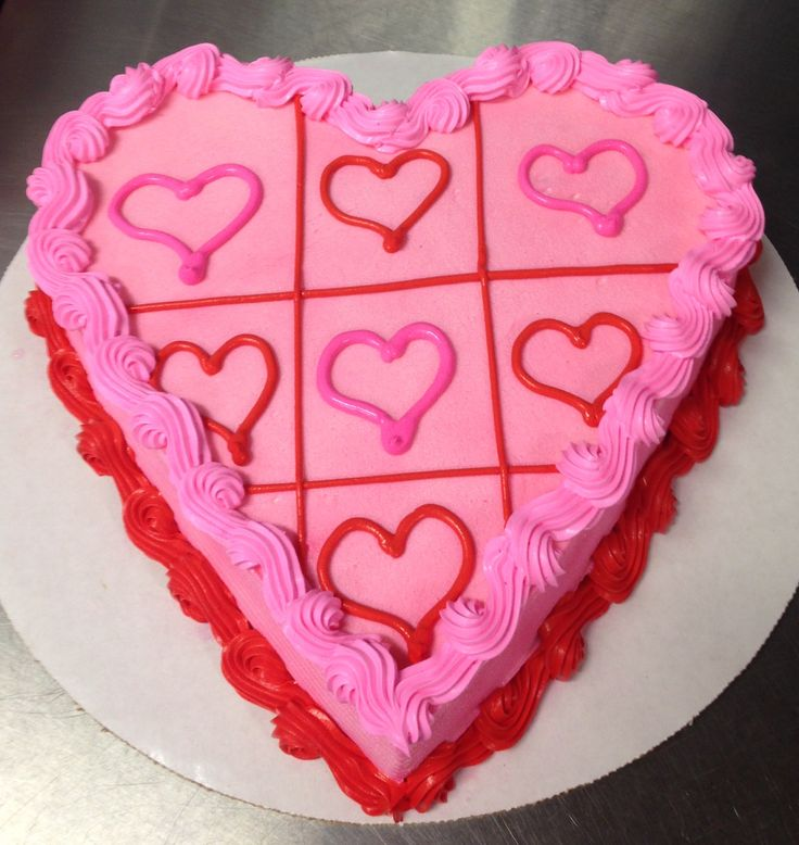 Valentine's Day DQ heart ice cream cake with tic tac toe design