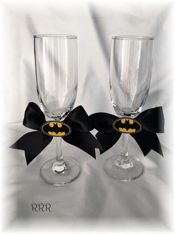 Charming Batman Wedding Toasting Wine Flutes Glasses Black And By RammaRuRu