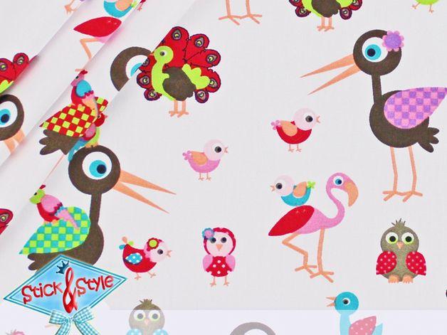 Stoff Tiermotive - Stenzo Stoff Stork & Friends - Storch und Co... - ein Designerstück von StickandStyle bei DaWanda
