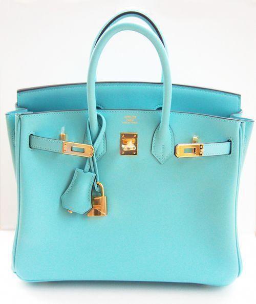 Hermes Birkin Bag 25cm Blue Atoll Lagoon Gold  804c2af47b33b