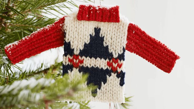 Cozy up your tree with a sweet ornament made from an old sweater./