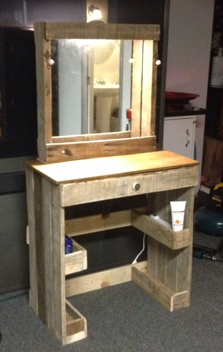 Vanity with lighted make-up mirror made from reclaimed wood! Fun project!