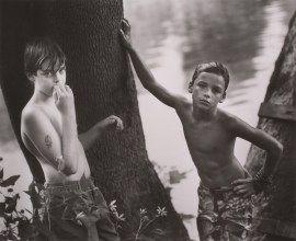 Sally Mann, Emmett and the White Boy, 1990. Gelatin silver print, image: 18 7/8 x 23 1/8 inches (47.9 x 58.7 cm); sheet: 19 5/8 x 23 7/8 inches (49.8 x 60.6 cm)