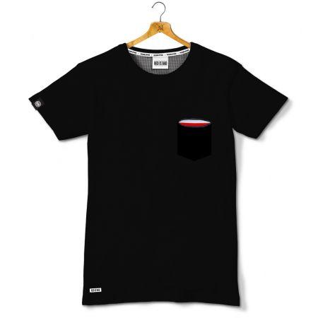 Koszulka z ukrytą kieszonką z motywem polskiej flagi - Kolekcja Dyskretna - czarna