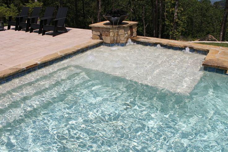 Pool with tanning ledge baja shelf pinterest colors for Pool design with tanning ledge