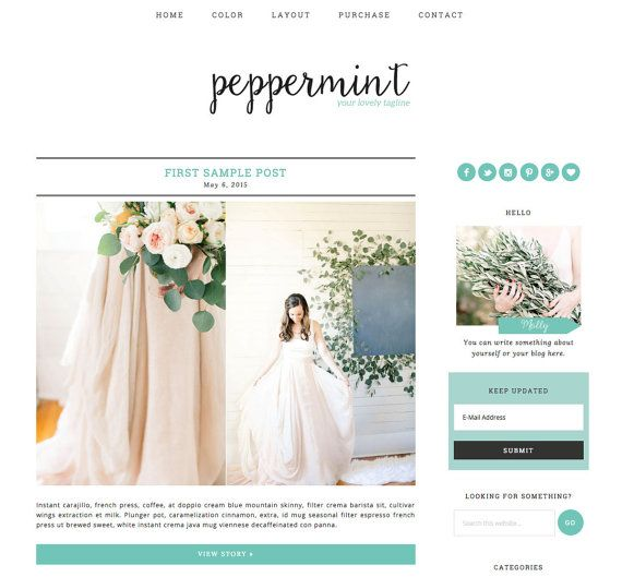 Wordpress Theme Responsive Blog Design Peppermint   Peppermint is a very fresh and clean premade Wordpress theme. Features a contemporary calligraphy header, brings out your personality and own style. Perfect for fashion or lifestyle blogger who is looking for a unique and affordable design. #affiliate