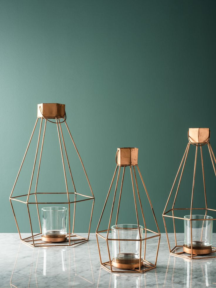 Supercool Geo Hanging lanterns in copper