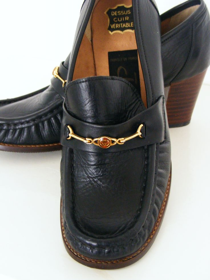 1970s loafers, black leather