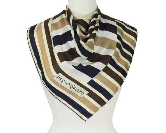 YSL Yves Saint Laurent Paris Vintage 1970s Silk Scarf Foulard