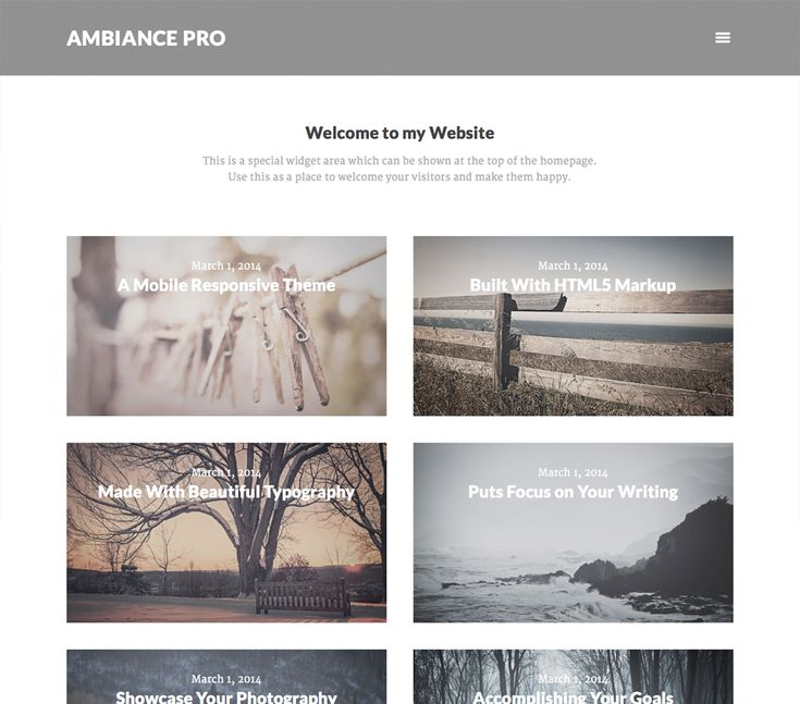 Ambiance Pro Genesis child theme is exactly what you need to create a great website on WordPress platform. Ambiance Pro theme is modern, minimal and it is to be run with super Genesis framework.