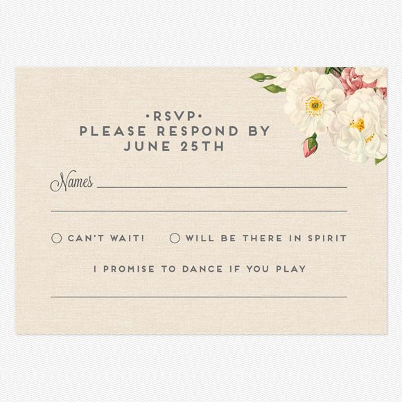 "Reply Postcards :: I promise to dance if you play ___________ and like the kinder wording other than ""i'm not coming"""