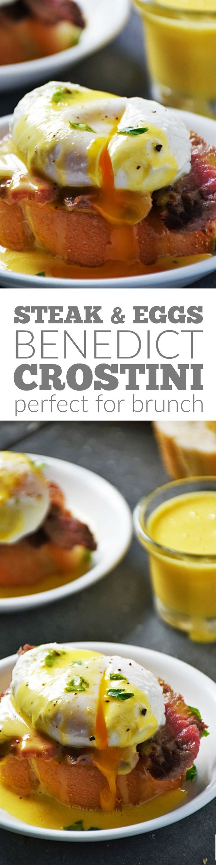 Steak and Eggs Benedict Crostini is perfect for brunch, a starter before dinner, or even for a party appetizer! This recipe is always a winner anytime of day for any occasion. #LTGrecipes