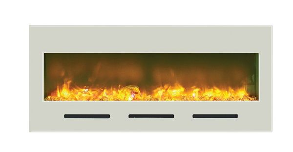 Amantii BI-50-FLUSHMT-WHTGLS wall-mount electric fireplace with white glass; $1419 cdn.