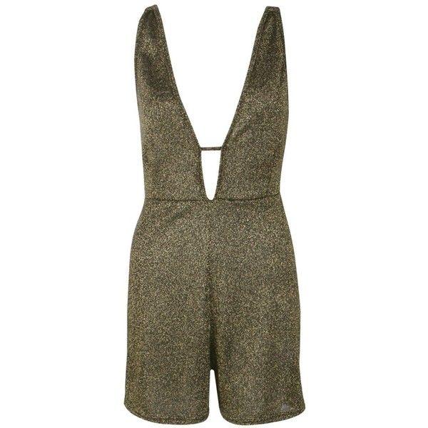 Boohoo Tall Penelope Deep Plunge Metallic Playsuit | Boohoo (£24) ❤ liked on Polyvore featuring jumpsuits, rompers, metallic romper, plunge romper, brown romper and playsuit romper