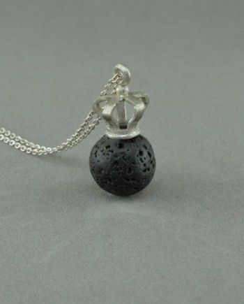Silver crown necklace with natural lava stone