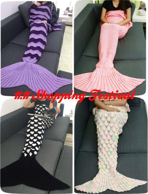 Color Block Crochet Knitting Mermaid Tail Design Blanket