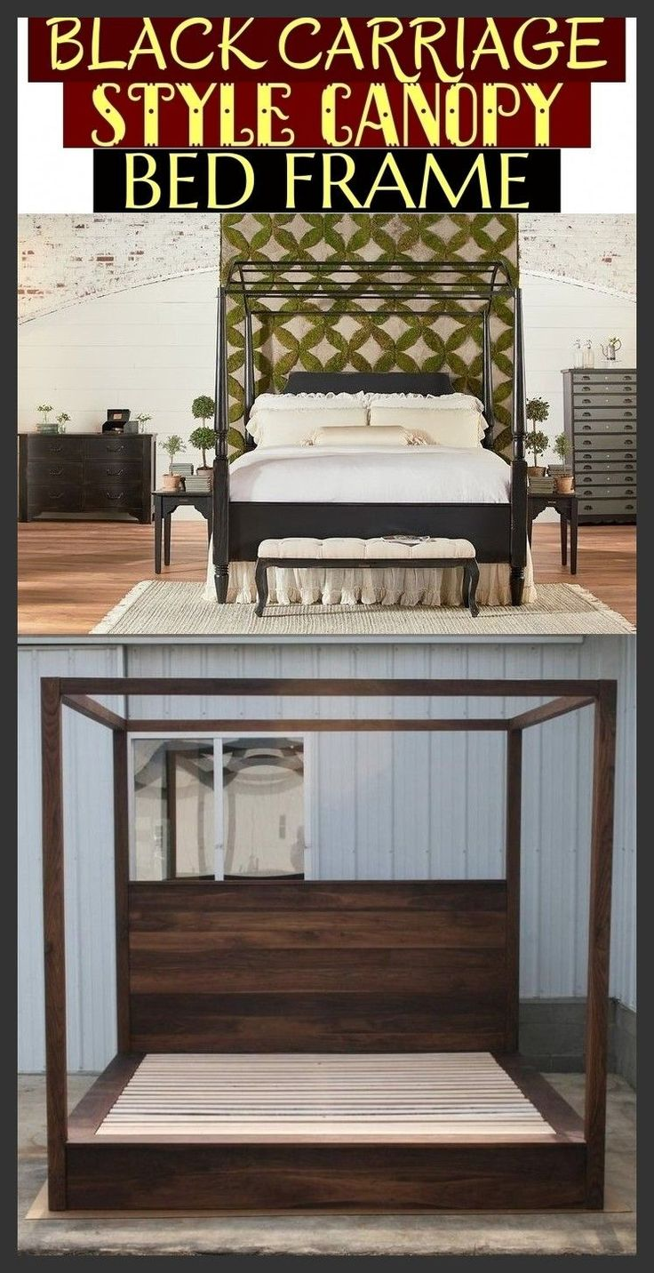 Black carriage style canopy bed frame farmhousebedding