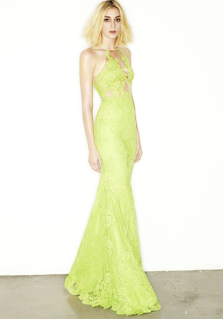 CIPRIANA - HALTER CORDED LACE GOWN