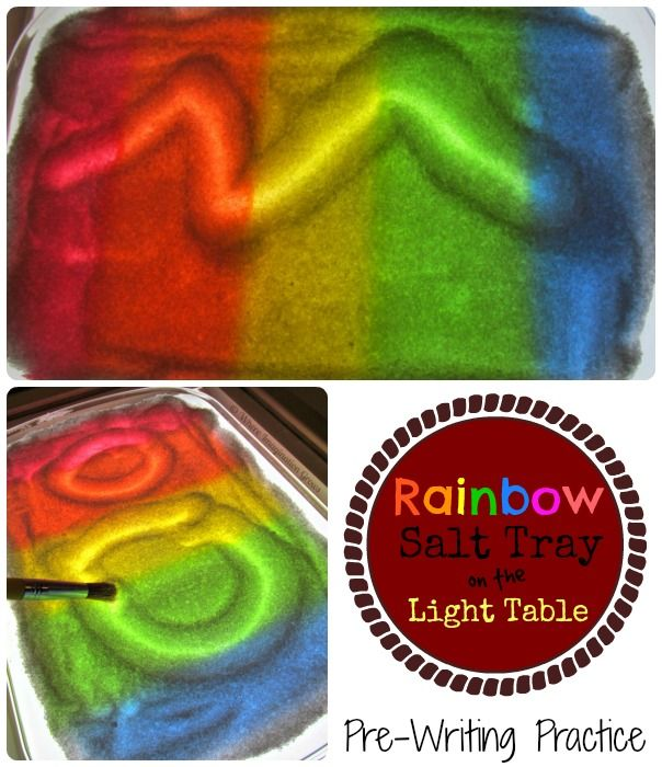 Rainbow Salt Tray for practicing pre-writing skills on the light table!
