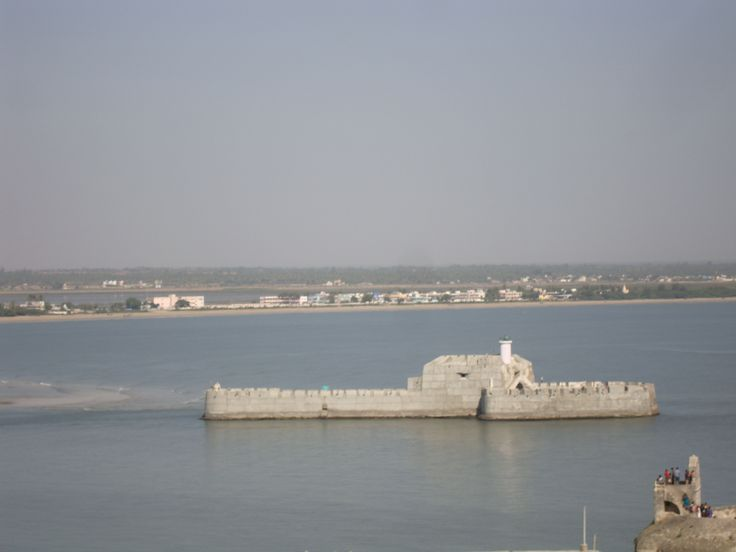The View of Water Fort Prison from Diu Fort with watch tower of Diu Fort