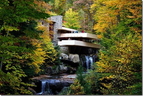 Famous Fallingwater in Pittsburgh, USA by Frank Lloyd Wright